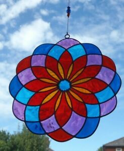 MULTI COLOUR MANDALA SUN CATCHER 15 cm STAINED GLASS EFFECT Complete with Hook
