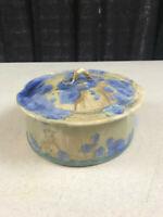 "vintage Art Pottery Covered Dish Bowl Beautiful Blue Inlay Glaze 7"" x 2 3/4 ""LB"""