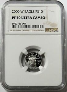 2000 W PLATINUM $10 AMERICAN EAGLE STATUE OF LIBERTY 1/10 OZ COIN NGC PF 70 UC