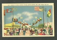 1939 New York Worlds Fair Postcard Bridge Of Wings Looking Toward Aviation Bldg