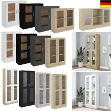 Vitrine Standvitrine Kommode Hochschrank Sideboard Glas&Holz Weiß Schwarz Grau