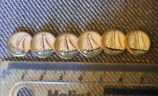 More details for set of 6 vintage art deco reverse intaglio crystal sail boat buttons x 6
