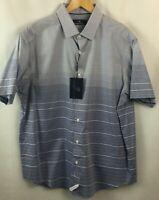 Hart Schaffner Marx Shirt Mens Size Large 100% Cotton Blue Stripe A15