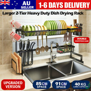 91cm Dish Drying Rack Organizer 2Tier Kitchen Draining Over Sink Stainless Steel