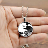 Lovely Yin Yang Cat Pendant Choker Statement Silver Necklace Women Jewelry Gift