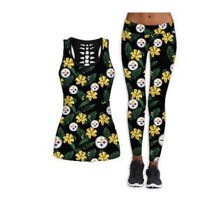 Pittsburgh Steelers 2PCS Women's Tank Tops Fitness Leggings Yoga Pant Sport Suit