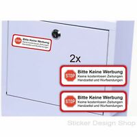 2er Set Bitte keine Werbung Schild Briefkasten Aufkleber Vinyl Stickers 7 x 2 cm