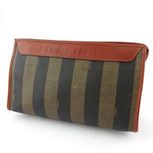 FENDI clutch bag pecan beige PVC �~ leather Auth used T19145