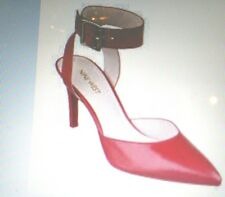 NINE WEST Red LEATHER Ankle Strap OPEN BACK Heels COMFORTABLE Shoes 6.5 6/12