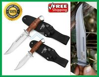 Bowie Hunting Knifes Fixed Blade Leather Handle Sheath Outdoor Survival Tactical