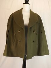 NWT BURBERRY BRIT GREEN WOOL DOUBLE BREASTED CAPE COAT PONCHO US 8 UK 10 IT 42