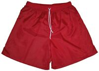 Red Plain Nylon Soccer Shorts by High Five - Men's Small