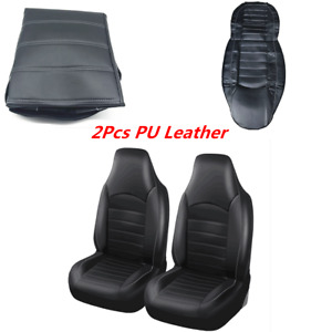 2Pcs Black Car Front Seat Covers PU Leather High Back Bucket Protector Cushions