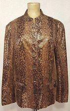 Mint ALFRED DUNNER Faux Mandarin Snakeskin Jacket 14 Brown & Gold Metallic