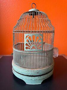Antique Bird Cage Vintage farmhouse wire dome Garden green small victorian hang