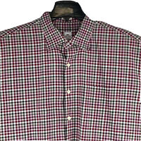 Peter Millar Mens Button-Down Shirt 100% Cotton Pink/White/Green Plaid • XXL EUC