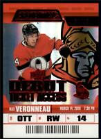 2019-20 Credentials Red Parallel Debut Ticket Access #90 Max Veronneau RC /99