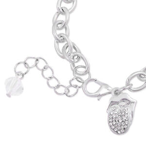 The Rolling Stones Crystal Tongue Charm Bracelet