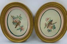 Homco Home Decor Framed Prints Birds Gold Oval Kay Lamb Shannon Vtg Usa Read