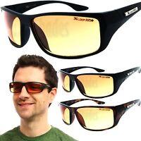 X-Loop HD Wrap Sunglasses Mens Golfing Fishing Glasses Sports Shades Amber Lens