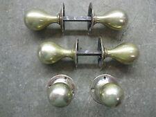 3 Pairs Original Reclaimed Brass Copper/Bronze Round Long Ball Door Knobs 0233