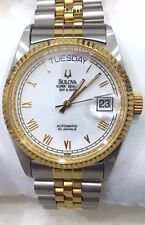 BULOVA SUPER SEVILLE DAY & DATE AUTOMATIC 2 TONE 25J MEN'S WATCH SWISS MADE