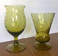 Gorgeous Mid Century Green Optic Glass Vase & Goblet Set