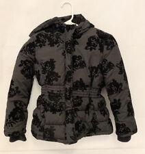 "Girls Crazy 8 Black Winter Jacket M Medium 7 8 16"" Puffy Winter Snow Coat Floral"