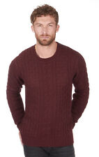 Men's Classic Chunky Cable Knit Crew Neck Jumper Sweater Pullover Cardigan