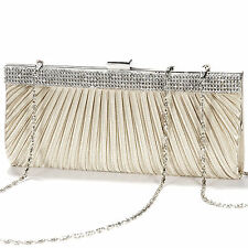 Satin Crystal Bridal Evening Clutch Shoulder Bag Handbag Champange Women Bag
