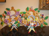 VINTAGE PAIR OF MEXICAN TREE OF LIFE BY HERON MARTINEZ CANDELABRA FOLK ART