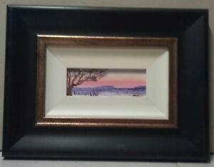Framed miniature oil painting 'Rolling Waves' 6 x 15cm by Debra Lohrere