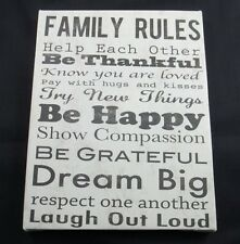 Canvas Wall Art Picture Family Rules Be Thankful Dream Big Laugh Out Loud 8x6 #1