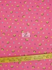 "PAUL FRANK PINK HEARTS BY DAVID TEXTILE 100% COTTON FABRIC - 45"" WIDTH FH-157"