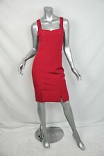 REISS Sleeveless RED Fitted Sheath Dress+Back-Ruffle Cocktail+Work UK/6 US/2 NEW