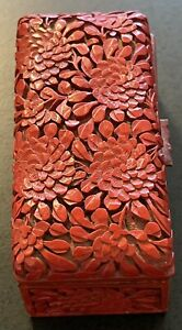 Antique Chinese Deeply Carved Cinnabar Stamp Box NR