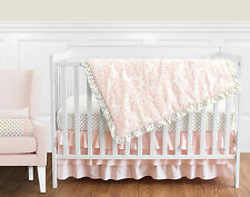 Sweet Jojo Blush Pink White Damask Gold Dots Bumperless Girl Crib Baby Bedding