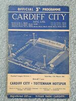 1961 - CARDIFF CITY v TOTTENHAM PROGRAMME - FIRST DIVISION - DOUBLE SEASON