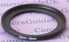 43 mm à 52 mm mâle-femelle Stepper Step Up Filtre Anneau Adaptateur UK 43mm-52mm
