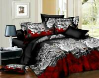 3D Effect Bedding Set Duvet Cover Pillow Cases & Fitted Sheet Double/King DVIOR