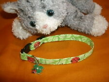 Cat Collar Handmade - Lucky Ladybugs With Charm on Green Leaves Fabric . Meow