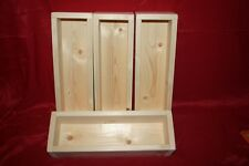 4x Wood Storage Troughs. Small solid wooden boxes. Kitchen / art / craft trays