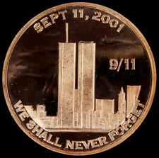 We Shall Never Forget 9/11 (Sept. 11, 2001) Twin Towers 1 oz .999 Copper Round