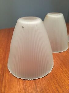 """PRELOVED  OPAQUE MODERN RIBBED CONE GLASS  LIGHT SHADE 4 1/2"""" W X 5"""" T"""