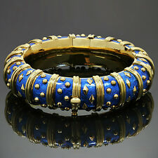 TIFFANY & CO. Schlumberger Dot Losange Blue Enamel Yellow Gold Bracelet  $40000