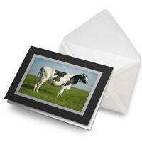 Greetings Card (Black) - Dairy Cow Cattle Farm Farmer Milk Birthday Gift #15895