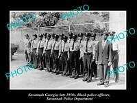 OLD LARGE HISTORIC PHOTO OF SAVANNAH GEORGIA THE BLACK POLICE SQUAD c1950