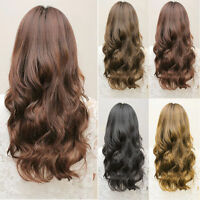Women 3/4 Full Head Clip In Hair Extensions Wave Curly Brown Clips Long New