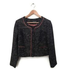 J Peterman Jacket 10 Black White Tweed Pink Trim Blazer Women's Career NWOT