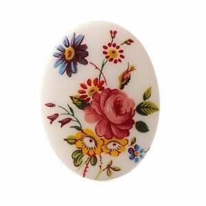 Vintage Limoges style porcelain picture cabochon wild flowers 40x30mm